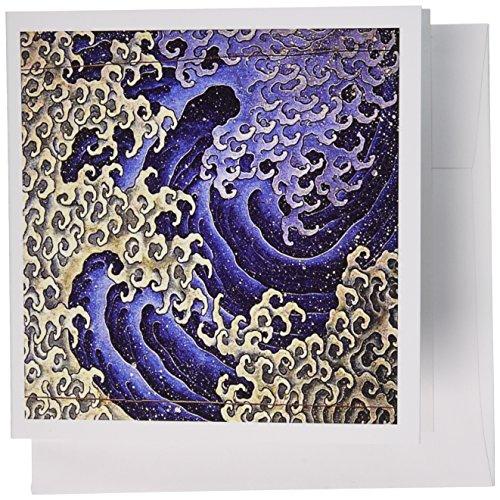 3drose Bild der japanischen Abstrakte Malerei von berühmten Wave in männliche Form Grußkarten, Set von 12(GC_-Schmuck 2)