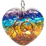 Ciondolo orgonite policromo cuore chakra colori arcobaleno