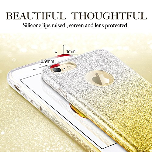 Coque iPhone 7 Noir, ESR iPhone 7 Coque Paillette Strass Brillante Bling Bling Glitter de Luxe, Housse Etui de Protection Silicone [Ultra Fine] [Anti Choc] pour Apple iPhone 7 4,7 pouces (Série Maquil Or Dégradé