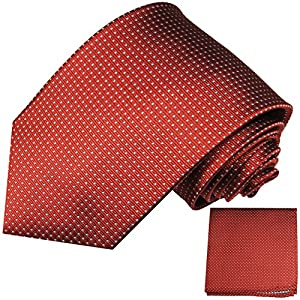 Rote Krawatten Set 2tlg 100% Seidenkrawatte (extra lang 165cm) + Einstecktuch by Paul Malone