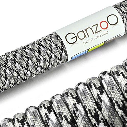 Paracord 550 corda, 31 m, per Guinzaglio per cani, colore: bianco, grigio, nero