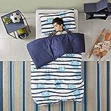 Renforcé Kinder Bettwäsche Set 2-teilig mit Monster Motiv gestreift Bettbezug Kissenbezug 100% Baumwolle Junge Kinderbett blau (135x200 + 50x75cm)