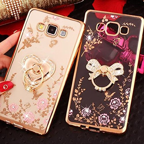 LOXXO Crystal TPU Flower Butterfly Case with Detachable Rotating Heart Ring Stand for Samsung Galaxy J7 Nxt (Gold)