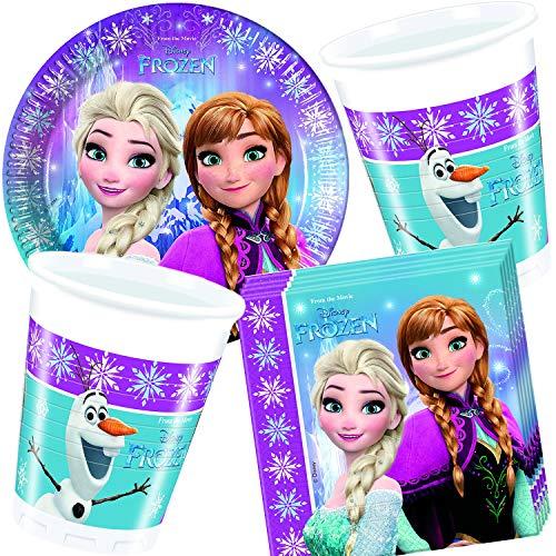 Procos/Carpeta 77-TLG. Party-Set * Frozen Northern Lights * mit Teller + Becher + Servietten + Deko   Motto Geburtstag Kinder Kindergeburtstag ELSA Eiskönigin Disney (Teller Frozen Party Geburtstag)