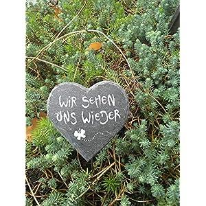 Herzige Seelenbotschaft/Anfertigung nach ihren Wünschen/frei Hand gemalt und gebrannt/Grabschmuck/Schiefer/Stern/Herz/Grabgesteck/Grabstein/Mein TatenReich