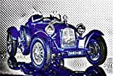 Artland Qualitätsbilder I Wandtattoo Wandsticker Wandaufkleber 30 x 20 cm Fahrzeuge Auto Digitale Kunst Blau C7OU Bella Macchina der Alfa Romeo 2300 Monza (Baujahr 1934)