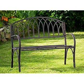 Amazon.de: Nostalgie Gartenbank Metall Eisen Antik-Stil braun ...