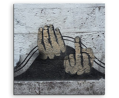 street-art-dito-medio-60-x-60-cm-quadro-su-tela-su-telaio-stampa-artistica-di-alta-qualita-wandbild-