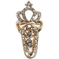 sibina Useful 1 PC Hot Fashion Jewelry Bowknot Crown Crystal Finger Nail Art Ring Fake Nail Protection