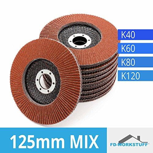 20 Fächerscheiben MIXPACK ( 4x5 Stk ) 125 mm Gemischte Körnung je 5x 40 / 60 / 80 / 120 Standard Fächerschleifscheibe Schleifmopteller Sparpack (Lamellen 4 Edelstahl)