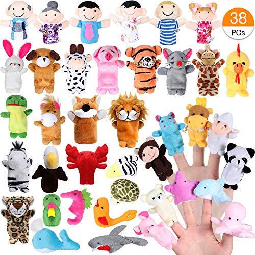 ingerpuppen Set für Kinder 32 stücke Cartoon Tier Hand Spielzeug 6 stücke Menschen Familienmitglieder Marionetten für Baby InfantToddlers Kinder Pädagogische Geschichte Zeit ()