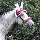 QHP Rentier Hut für Ihr Weihnachts-Outfit rot, weißer Plüschrand weißes Geweih (Warmblut)
