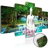 murando - Acrylglasbild Natur 200x100 cm - 5 Teilig - Bilder Wandbild - modern - Decoration - Landschaft Buddha Wasserfall Baum Wald h-C-0048-k-n