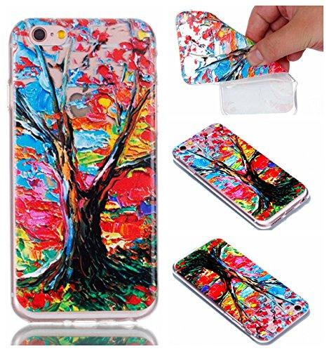 Pour Apple iPhone 6s Plus(5.5 Zoll ) Case Cover, Ecoway TPU Clear Soft Silicone motif estampé Housse en silicone Housse de protection Housse pour téléphone portable pour Apple iPhone 6s Plus(5.5 Zoll  Arbres colorés