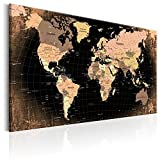 Neuheit! Weltkarte mit Kork Rückwand 60x40 cm - einteilig Bilder Leinwandbild Poster Pinnwand Kunstdruck Weltkarte Karte Welt Landkarte Kontinent k-B-0011-p-b 60x40 cm B&D XXL