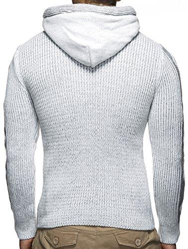 Leif Nelson LN4205 Pull-over tricoté à capuche Gris