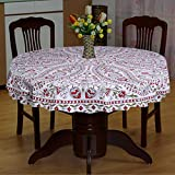 #10: Round Tablecloth Traditional Design 65 Inch/Dining Table cover 4 Seater Multi-Color-7