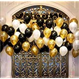 Party Propz Pack of 50 Black,Golden and White Latex Balloon for Balloons for Decoration