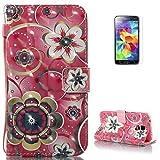 KaseHom Case for Samsung Galaxy S5 PU-Leder Etui (Rosa Mandala) Druckmuster Flip Magnetisch Brieftasche Ständer Notebook Schutzhülle+[Frei Schirm Schutz]