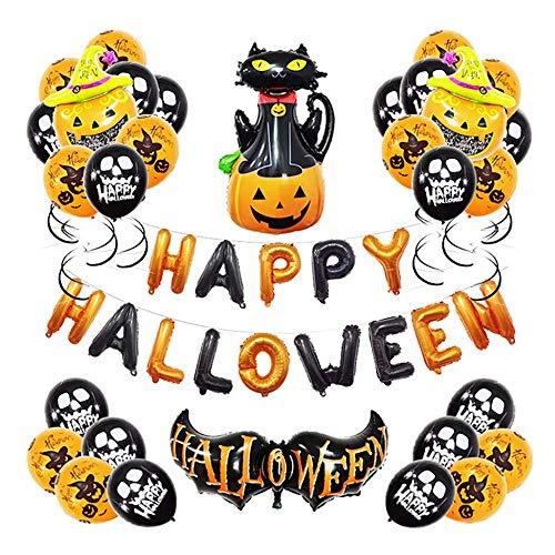 ation Ballons Happy Halloween Girlande Mit Muster Kürbis Für Kinder Hängende Verzierung Für Decke Dach Dachboden,2 ()