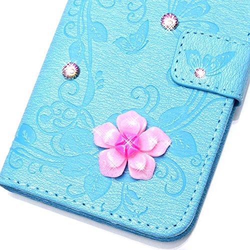 iPhone 7 Plus Hülle,iPhone 7 Plus Case,Cozy Hut ® Ultra Slim Flip Lederhülle / Ledertasche / Hülle / Case / Cover / Etui / Tasche für iPhone 7 Plus / 3D Diamant Strass Bling Glitzer Schmetterlings-Blu blau Butterfly flowers