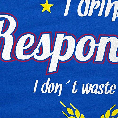 CottonCloud I drink responsibly - dont waste a drop Herren T-Shirt Bier Fun Shirt Spruch trinken Blau