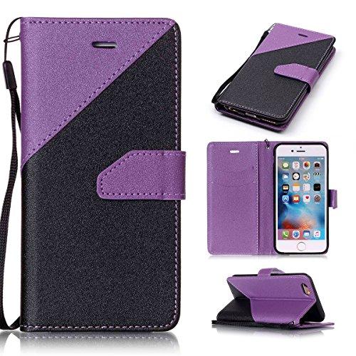 iPhone 6/iPhone 6S 4.7inch Case, Case First due colori design PU pelle portafoglio Case Cover Flip Cover con Cinturino da Polso e Card Slot per iPhone 6/iPhone 6S 4.7inch Lila + Schwarz