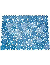 BlissHome Interdesign Blumz - Alfombrilla para fregadero (tamaño grande), color azul