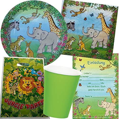 101-teiliges PARTY SET * WILDE TIERE & DSCHUNGEL * für Kindergeburtstag mit 6-8 Kinder: Teller, Becher, Servietten, Einladungen, Partytüten, Deko | Jungel Safari Löwe Elefant Zebra Luftballons