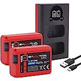 Baxxtar Pro (2X) kompatibel med batteri Sony NP-FW50 – Mini 1851 LCD DUAL laddare – (ingång USB-C och MicroUSB)