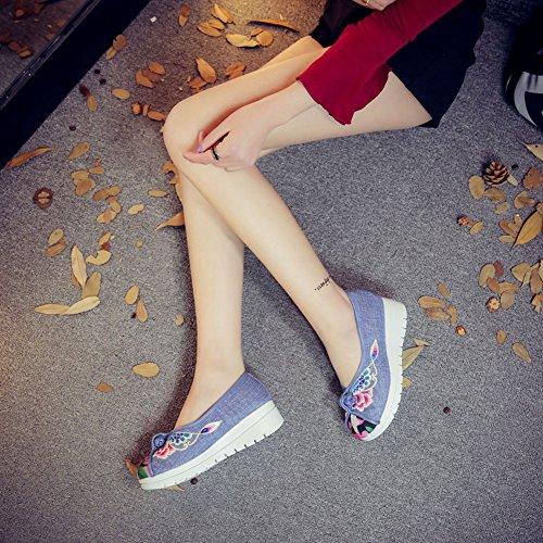 Icegrey Scarpe Donna Ballerine Ricamato A Mano Fiore Pantofola Cuneo Mary Jane Scarpe Wedges Sandali Blu