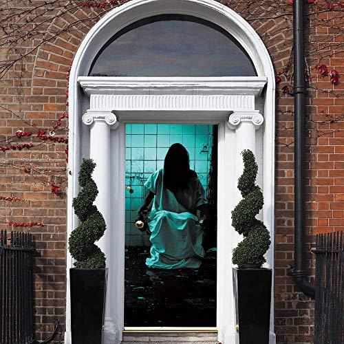 XCGZ Türaufkleber Unhöfliche Weibliche Türaufkleber des Geistes Kreative wasserdichte Aufkleber Der Halloween-Türdekoration