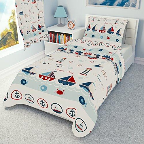Bettwäschegarnitur für Kinderbett von Ikea, vertrieben durch Babies Island, Deckenbezug und Kissenbezug, 110 x 125, Motiv: Meer, Boote