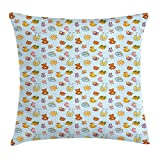 WCMBY Baby Throw Pillow Cushion Cover, Newborn Sun Teddy Bear Ribbon Feeder Pacifier Chick Kitty Cat Design, Decorative Square Accent Pillow Case, 18 X 18 inches, Pale Blue Cinnamon Apricot