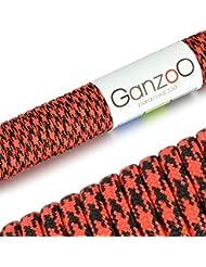 Ganzoo - Cuerda universal de supervivencia, fabricada en paracord 550, 550 lbs, 31 m, color rojo y negro
