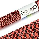 Paracord 550 Seil Rot | Schwarz | 31 Meter Nylon-Seil mit 7 Kern-Stränge | für Armband | Knüpfen von Hunde-Leine oder Hunde-Halsband zum selber machen | Seil mit 4mm Stärke | Mehrzweck-Seil | Survival-Seil | Parachute Cord belastbar bis 250kg (550lbs) - Marke Ganzoo