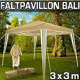Lifetime Pavillon Partyzelt für Garten Terrasse Camping Festival 3 x 3 x 2,45 m - Faltbar - Taupe/Weiß