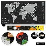 beneart® Weltkarte zum Rubbeln - Rubbelweltkarte - Landkarte zum Freirubbeln - scratch off world map (SILBER 44 x 84 cm) -