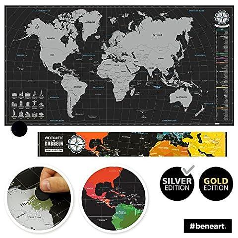beneart® Weltkarte zum Rubbeln - Rubbelweltkarte - Landkarte zum Freirubbeln - Personalisierte Weltkarte - scratch off the world map (Silver Edition I 44 x 84 cm)