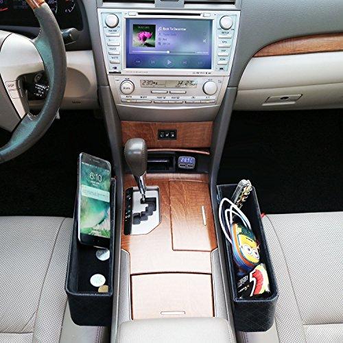 2 Stück Autositz Seiten Schlitz Taschen Auto-Sitzablagefach Organizer PU Leder Utensilientasche für Auto füllt Lücken Zwischen den Sitzen (Schwarz)