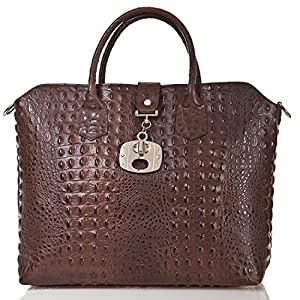 italienische Damen Handtasche Dallas aus echtem Leder in schoko braun, Made in Italy, Shopper Bag 39x30 cm