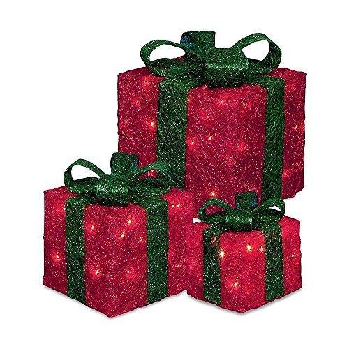 Beleuchtet LED Weihnachten Geschenkboxen 3er Set - Rot - Geschenkboxen Weihnachten Beleuchtete