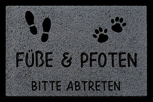 Interluxe FUSSMATTE Türmatte FÜSSE & Pfoten Bitte ABTRETEN Haustier Hund Katze Eingang Dunkelgrau