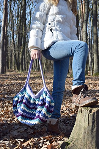 Blau Häkelarbeit Tasche Boho Handtaschen Frauen Gehäkelt geometrischer gestrickt Geld beutel purpurrotes weißes blaues Sommer Mamma geschenk Geschenk für Frauen geschenk für ihr Valentinsgrußgeschenk Häkeltasche beutel (Beutel Gehäkelte)