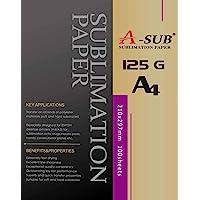 A-SUB Papier de sublimation A4, 210x297 mm, 100 feuilles, 125 g/m², Compatible avec les imprimantes à sublimation EPSON…