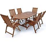 Deuba® Sitzgruppe Vanamo 6+1 | FSC®-zertifiziertes Eukalyptusholz klappbar 7-TLG Tisch | Sitzgarnitur Holz Gartenmöbel