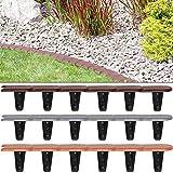 Deuba Rasenkante Palisade Beeteinfassung flach | grau | 48er Set | 7,6 m | elastisch | witterungsbeständig