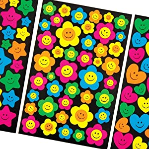 Baker Ross Neon Happy/Smiley Face Stickers for Children to Decorate and Personalise Crafts & Spring Cards - Scrapbooking Embellishment for Kids (Pack of 258)