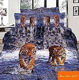 Schöne Bettwäsche Set 3D Tiger auf dem Wasser 3 teilig 100% Baumwolle mit Reißverschluss, 135x200cm