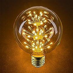 Paquete de 4 Iluminación Vintage, VSOAIR Bombillas LED con 3W G95 Vintage Edison Fuego Artificial Atenuable Bombilla Iluminación Cálido Blanco 2200K